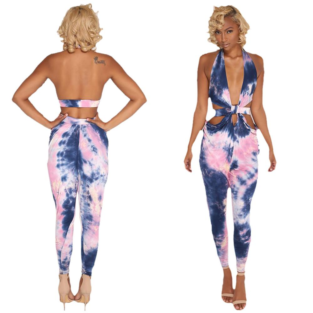 2019 tie dye printed halter backless bandage bodycon sexy ladies   jumpsuit