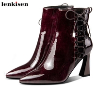 Lenkisen mature fashion shiny cow patent leather high heels pointed toe lace up party winter warm beauty lady ankle boots L63