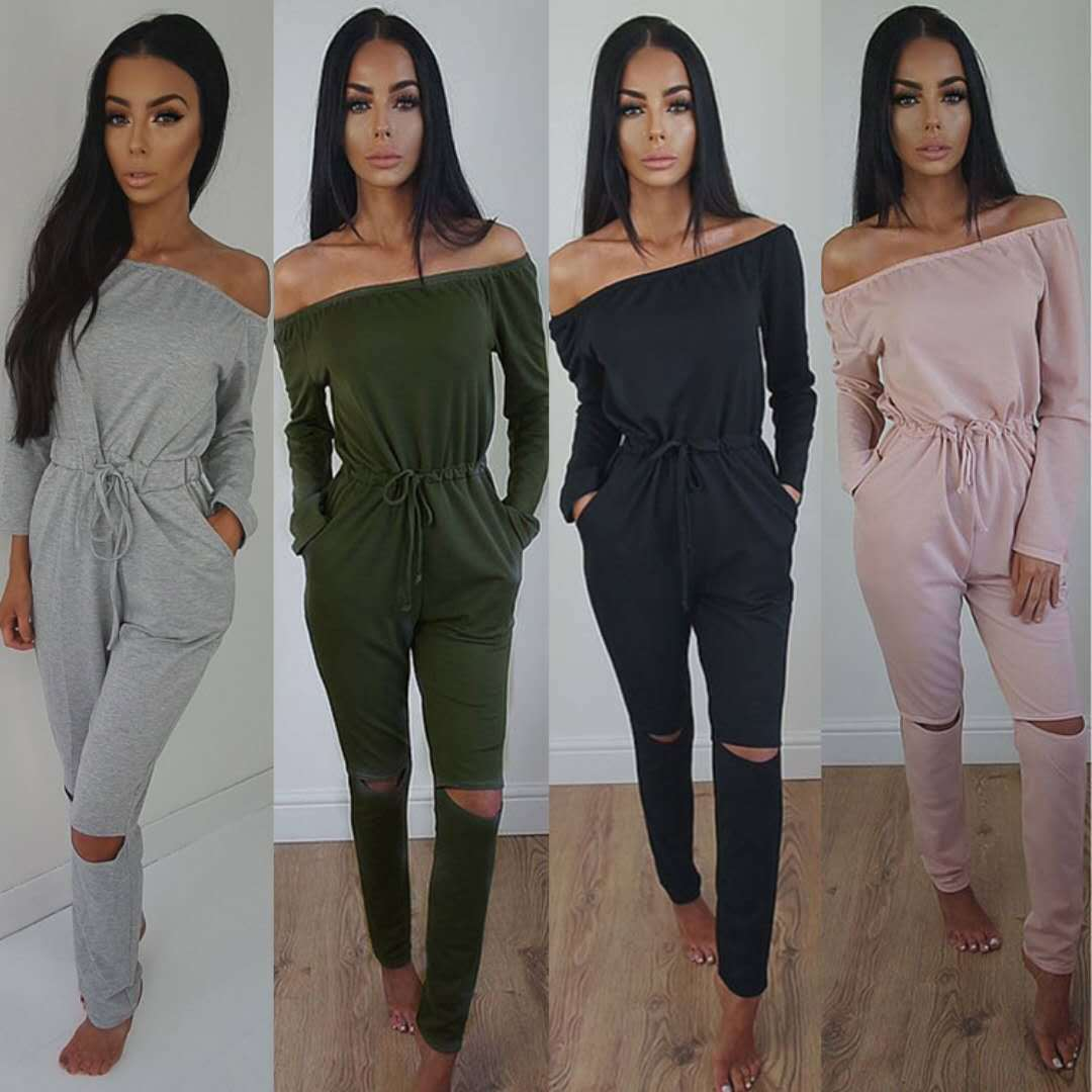 2018 Spring And Autumn Hot Selling Solid Color Horizontal Neck Tube Top Off-Shoulder Long Sleeve Sexy Jumpsuit Trousers