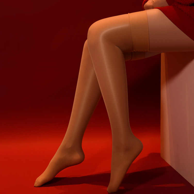 새로운 섹시한 여자 오일 반짝 이는 높은 탄성 허벅지 높은 스타킹 8D 란제리 무릎 스타킹을 통해 볼 Medias 나이트 클럽 캔디 컬러