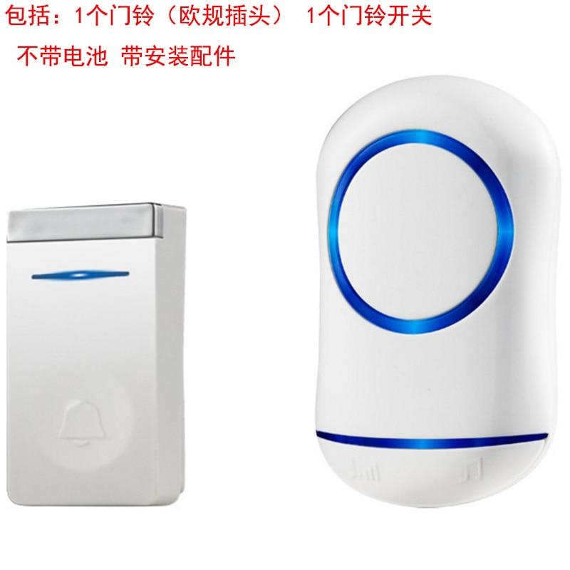AMS-Eu Plug Self Generation Wireless Doorbell Home Smart Electronic Remote Control Long Distance Cordless Doorbell