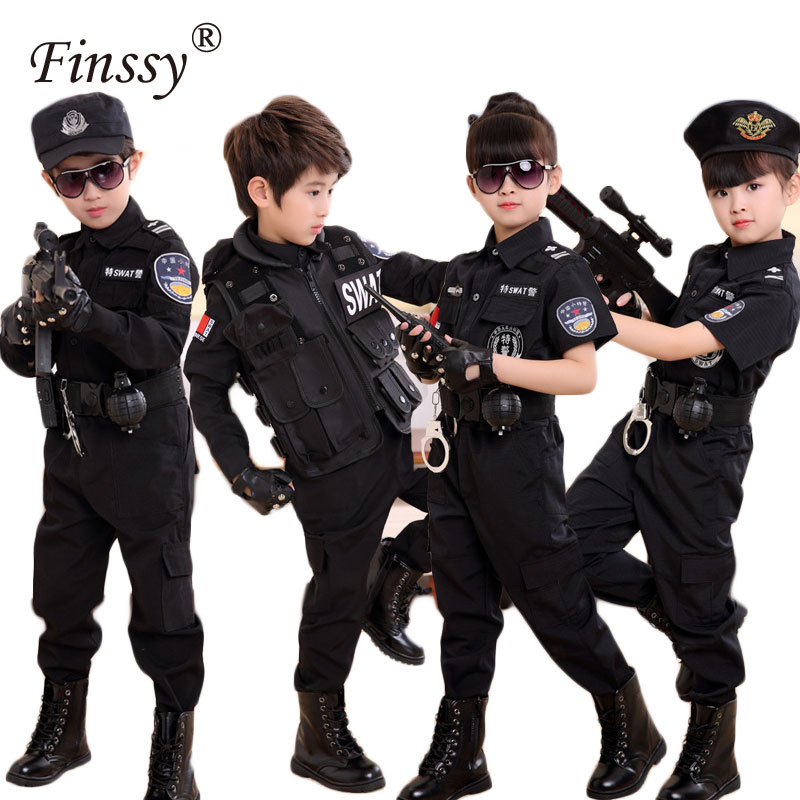 Boys Policemen Costumes Children Cosplay for Kids Army Police Uniform Clothing Set Summer Camp Performance Uniforms Dress Up Set
