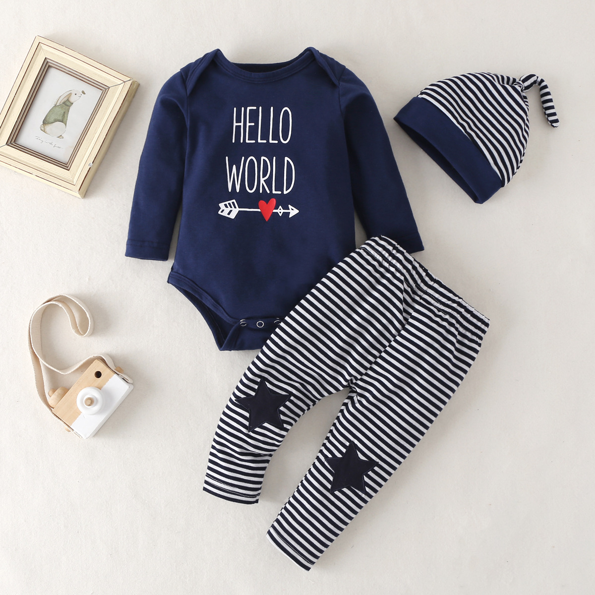 Boutique Newborn Baby Girls Sister Tops Romper Pants 3Pcs Outfits Set Clothes