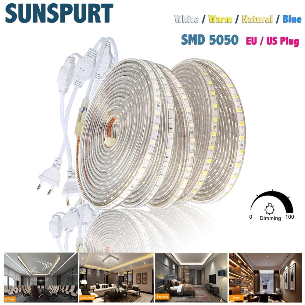 1-100M Dimmable 110V 220V LED Strip Light SMD5050 60LEDS/M Flexible LED Tape Waterproof LED Ribbon Outdoor Home Decoration EU US