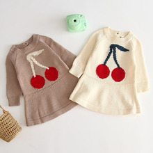 Knitted Dress Cherry Toddler Girl Baby-Girls Winter Infant Kids Autumn for Sweater