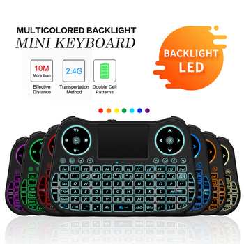 MT08 7color backlit 2.4ghz English Russian Spanish French version Mini Wireless  Keyboard Touchpad Remote Control Android TV Box