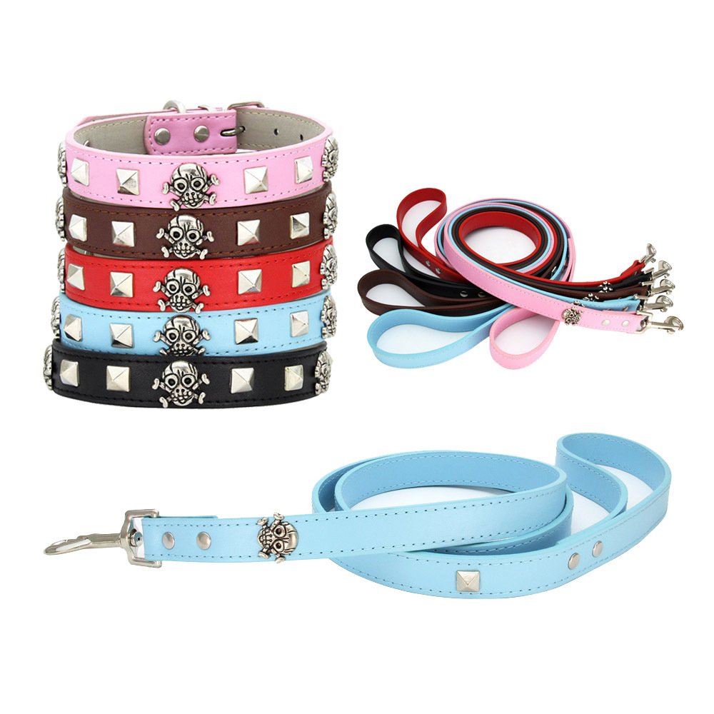 Punk Cool Hot Selling Dog Supplies Skeleton Skull Necklace Square Spike Set Pet Collar Traction Rope