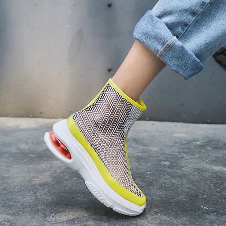 Moda Kadın Platformu Örgü Botları Yaz Nefes Kısa yarım çizmeler Sarı Rahat spor ayakkabılar Tenis Femininos Botas Mujer