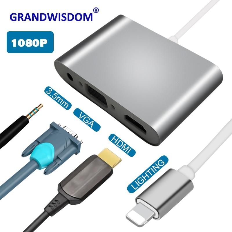 Pour la foudre à HDMI VGA Jack Audio TV adaptateur convertisseur compatible pour iPhone X, pour iPhone 8 7 7plus 6 6S pour iPad série YH2