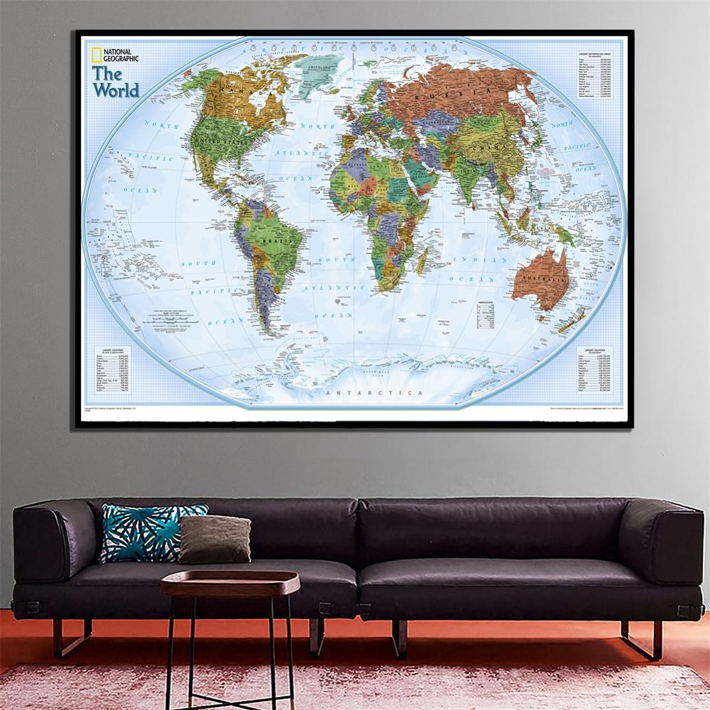 A2 Size The Wolrd Physical Map 2012 Edition HD Printed Fine Canvas World Map For Home Living Room Wall Decoration