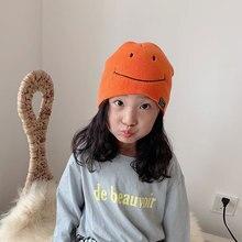 Knitted Hats for Girls Boys embroidery Smile Skullcap Beanie Hat Women and kids Winter Cuff Docker Beanies For Men Child