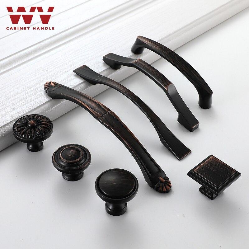 WV Zinc Alloy Black Bronze Cabinet Handles American Style Kitchen Cupboard Door Pulls Furniture Handle Drawer Knobs Hardware 936