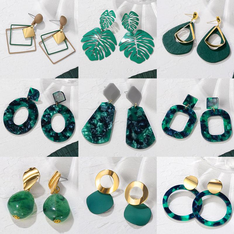 POXAM New Korean Statement Earrings for women Green Cute Arcylic Geometric Dangle Drop Gold Earings Brincos 2020 Fashion Jewelry