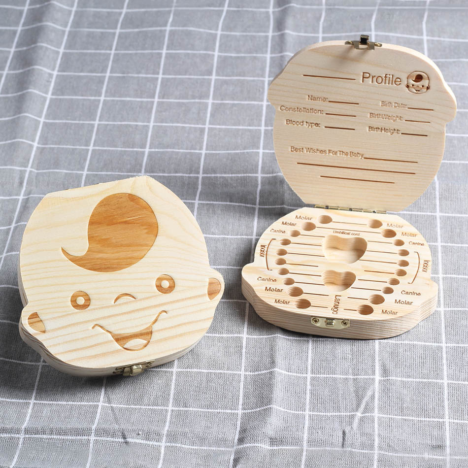 Baby Milk Teeth Box Baby Deciduous Teeth Storage Box Wood Tooth Box Baby Tooth Organizer Kids Deciduous Collect Wooden Box