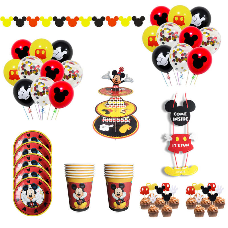 Cartoon Mickey Mouse Birthday Party Decorations Happy Birthday Party Balloons Napkins Cup Cake Topper Disposable Party Supplies