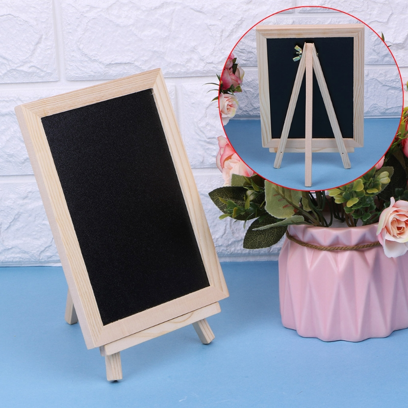 Wood Tabletop Chalkboard Double Sided Blackboard Message Board Children Kids Toy R9UA