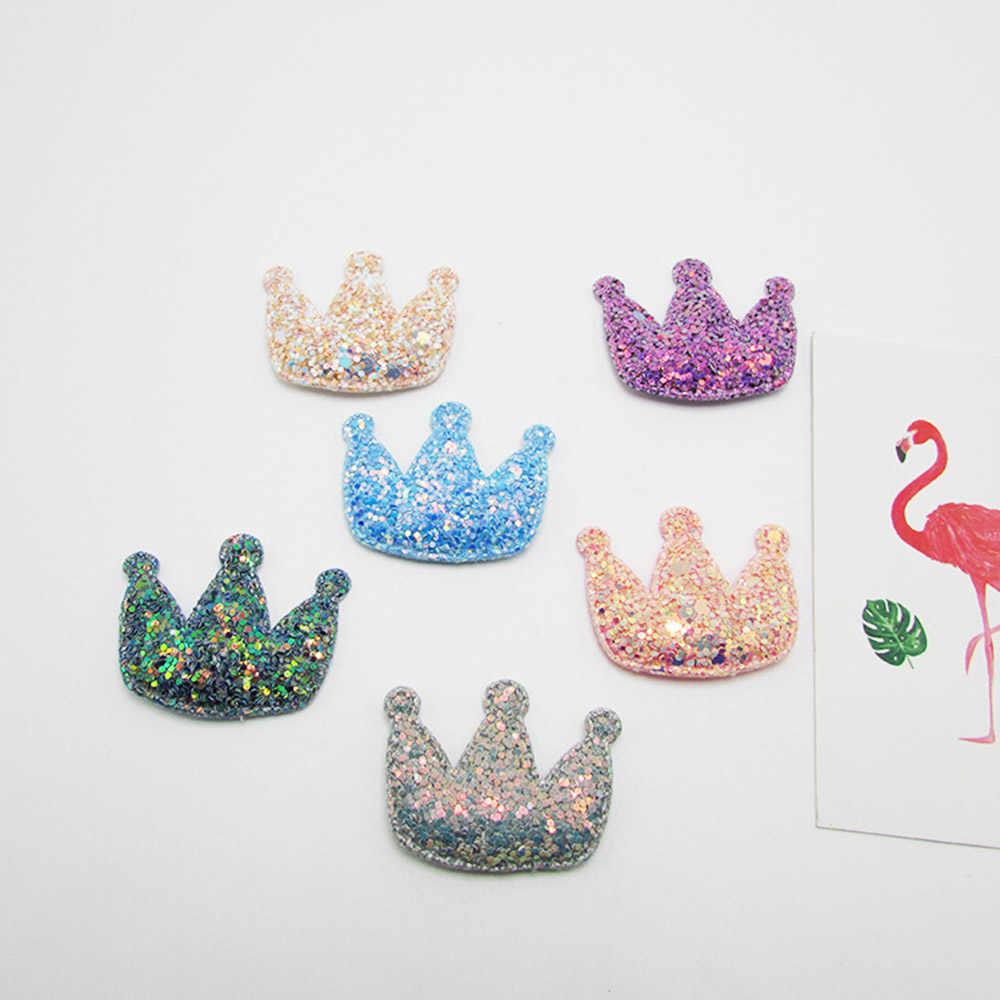 20 Pcs/Tas Chunky Glitter Mahkota Hati Pakaian DIY Dekorasi Merah Muda Merah Aksesoris Buatan Tangan Bahan Mengkilap Kerajinan Pemasok