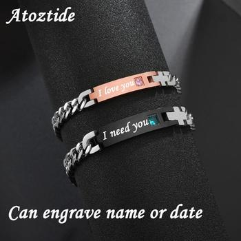 Atoztide Customized Stainless Steel Couple Lover Bracelet For Men Women CZ Stone Engrave Text Date Bracelets Jewlery Gift stainless steel men bracelet bracelets for women couple bracelet punk hip hop handmade long square chain