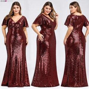 Image 4 - Plus Size Rose Gold Evening Dresses Long Ever Pretty EP07988RG Mermaid V Neck Sequined Arab Formal Party Dresses Lange Jurk 2020