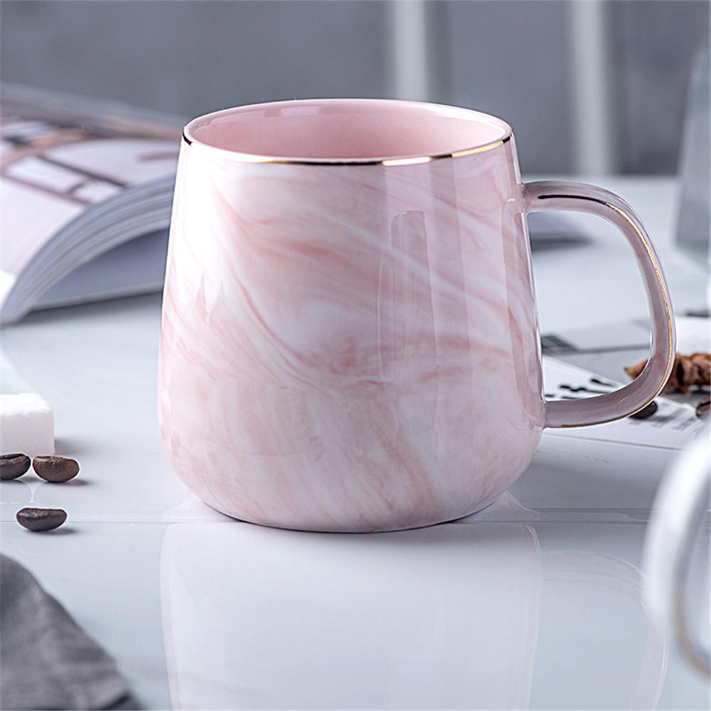 Pink Marble Pattern Ceramic Mug Gold Plated With Handle Mugs Morning Milk Coffee Tea Cup Pink Gray Couple Gift Household 1PCS|Mugs| |  - title=