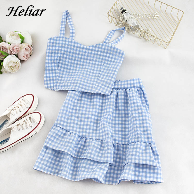 Heliar Sets Women Two Pieces Sets Elastic Spaghetti Plaid Tops And Skirts Flounce Hem Outfits Female 2020 Summer Sets For Women