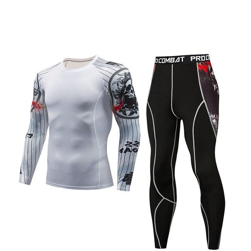 Mens Esporte De Corrida De Compressão Conjunto T-Shirt + Calças-Skin Apertado Mangas Compridas De Fitness Formação MMA Rashguard
