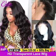 Celie cheveux HD Transparent dentelle perruque 180 250 densité dentelle avant perruques de cheveux humains vague de corps perruque pour les femmes noires perruques de cheveux humains