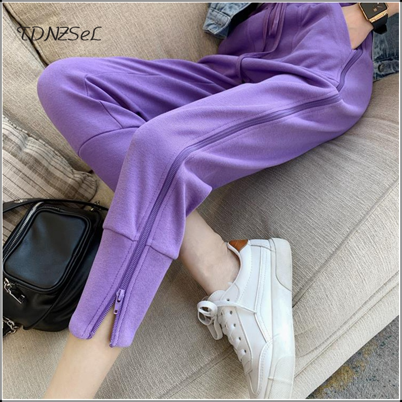 2020 Fashion Casual Sport Ankle- Length Pants Korean Style Side Openable Zipper Full Length Sweatpants Harajuku Jogger Trousers