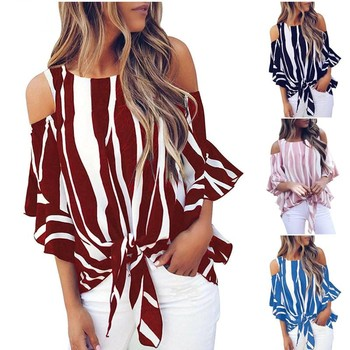 Striped Off Shoulder Blouse Women Casual Spring Summer O-neck Half Sleeve Bandage Shirt Female Sexy Flare Sleeve Chiffon Tops casual off the shoulder print flare sleeve blouse for women