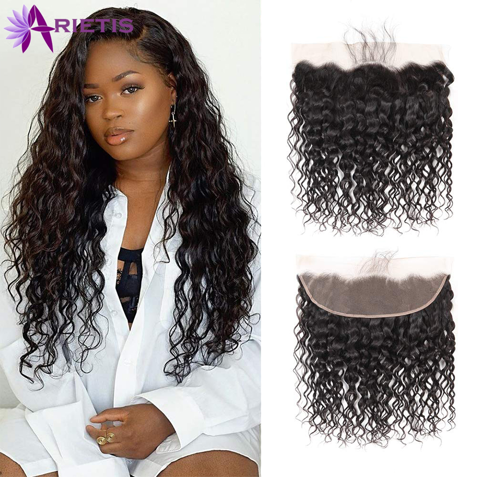 Arietis Hair 13X4 Lace Front Closure 100% Human Hair Lace Frontal Brazilian Deep Wave Hair Remy Frontal Closure 8-20 Inch