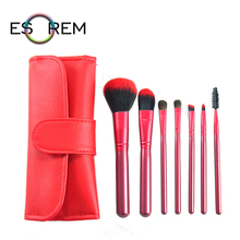 ESOREM 7pcs Synthetic Cosmetic Brush Set With Bag Wood Handle Makeup Brushes Loose Powder Flap Top Pinceaux Maquillage 1505
