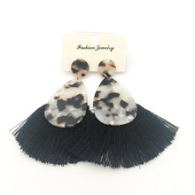 black white Tassels earrings Geometric Dangle Drop earring Long Acrylic Acetate Earrings For Women