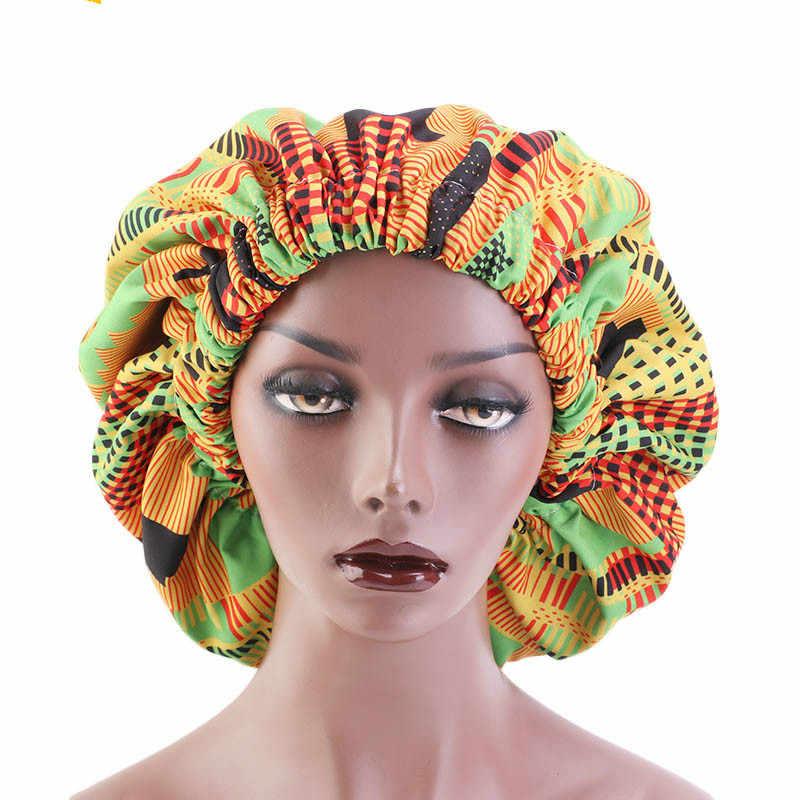 Yeni ekstra büyük saten kaplı Bonnet kadınlar büyük boy güzellik baskı saten ipek kaput uyku gece kap golf sopası kılıfı kaput şapka toptan