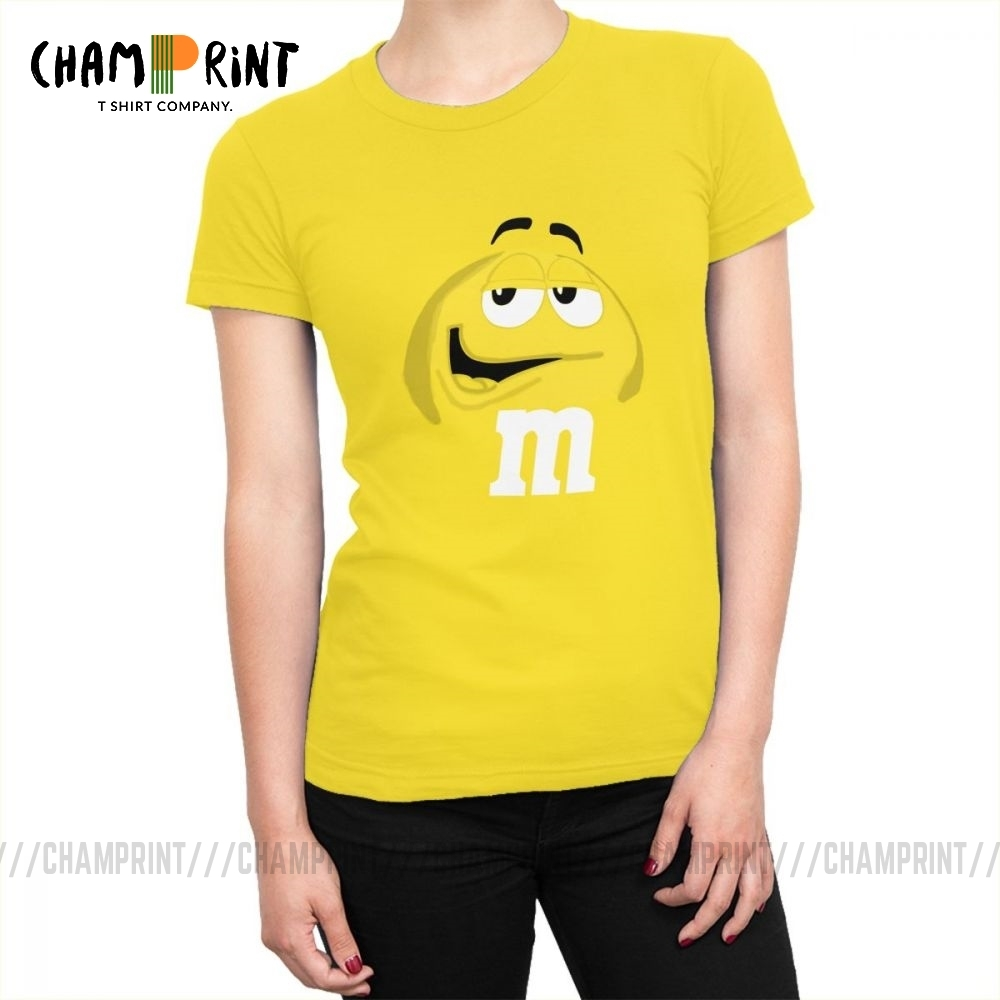 M&M's Chocolate Candy Tops Tees Character Face New Fashion Women's T Shirt Harajuku Cotton T-shirt For Female Funny Clothing