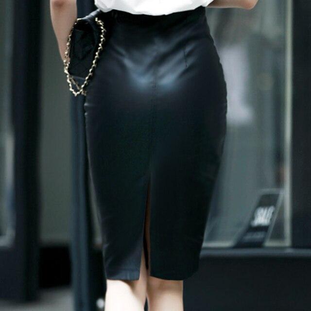 Aachoae Black PU Leather Skirt Women 2020 New Midi Sexy High Waist Bodycon Split Skirt Office Pencil Skirt Knee Length Plus Size 3