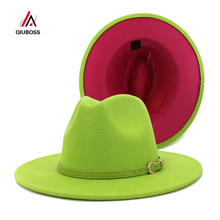 Fashion Outer Lime Green Inner Rosy Patchwork Womens Wide Brim Felt Hats Lady Panama Vintage Unisex Fedora Hat Jazz Cap L XL cheap QIUBOSS COTTON Polyester Adult QB318 Casual Plain Lime Green + Rose 58cm Summer Winter Spring Autumn Europe and the United States