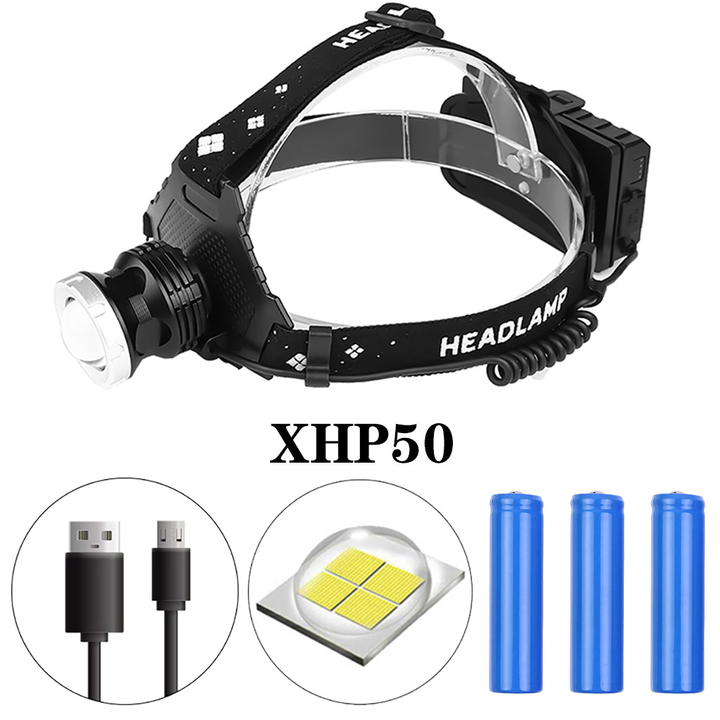 XHP50 LED Headlamp 5 Modes Zoomable Headlight Waterproof Head Torch Flashlight Head Torch With Charging Display For Camping 25
