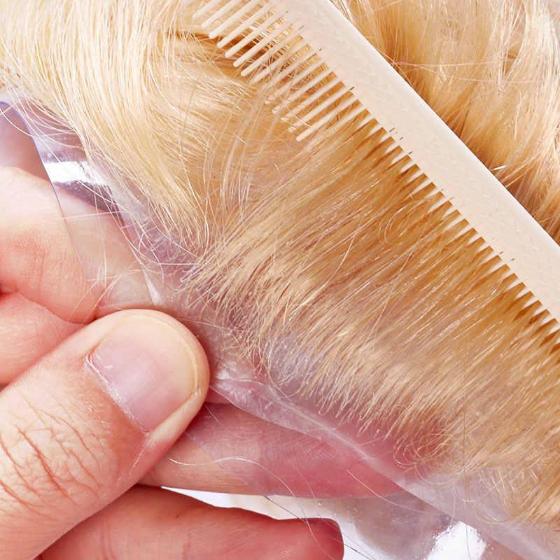 Peluca de peluquín para hombre, sistema de reemplazo de PU, piel fina, 0,04-0,05mm, 8x10, hecha a mano, pelo Natural Remy humano indio de 6 pulgadas