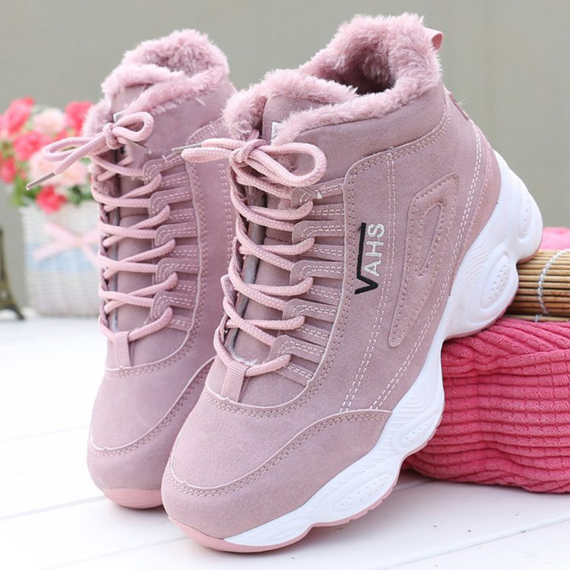 Fashion Platform Sneakers Winter Plush Casual Shoes Vulcanized Sneakers for Women Female Lace Up Spring Autumn Ladies Shoes Girl