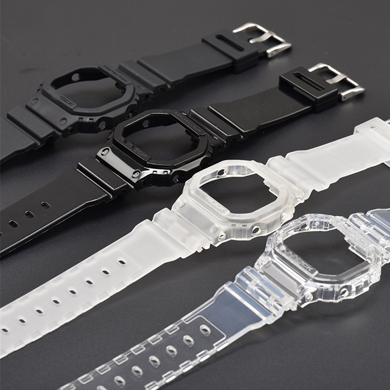 Transparent Watchband Watch Case for Casio <font><b>G</b></font>-<font><b>Shock</b></font> <font><b>DW</b></font>-<font><b>5600</b></font> GW-M5610 <font><b>G</b></font>-<font><b>5600</b></font> <font><b>G</b></font>-5000 TPU Replace Band Bracelet Strap Accessories image