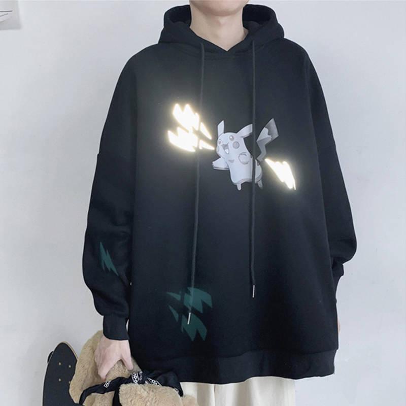 Korean Version Mens Autumn Winter Fleece Warm Hoodies Sweatshirt Casual Loose Streetwear Clothing Cute Pikachu Pokemon Hoodies