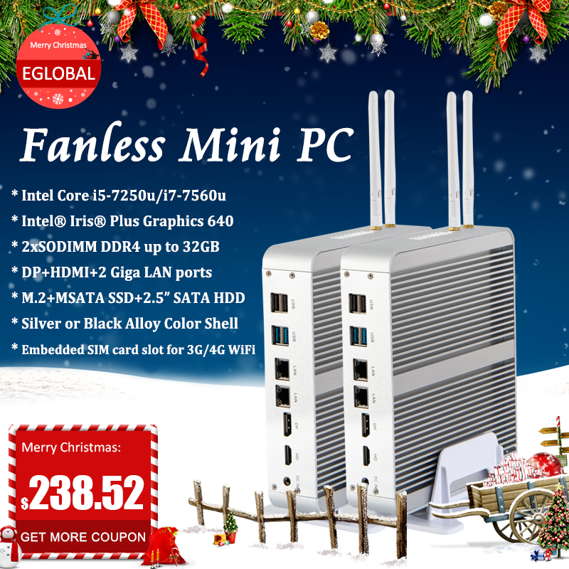 Eglobal Fanless Mini PC Intel Core  I5 7260U Windows 10 Pro Micro Computer 2*DDR4 Msata M.2 SSD TV Box 4K HD HTPC 300M WiFi