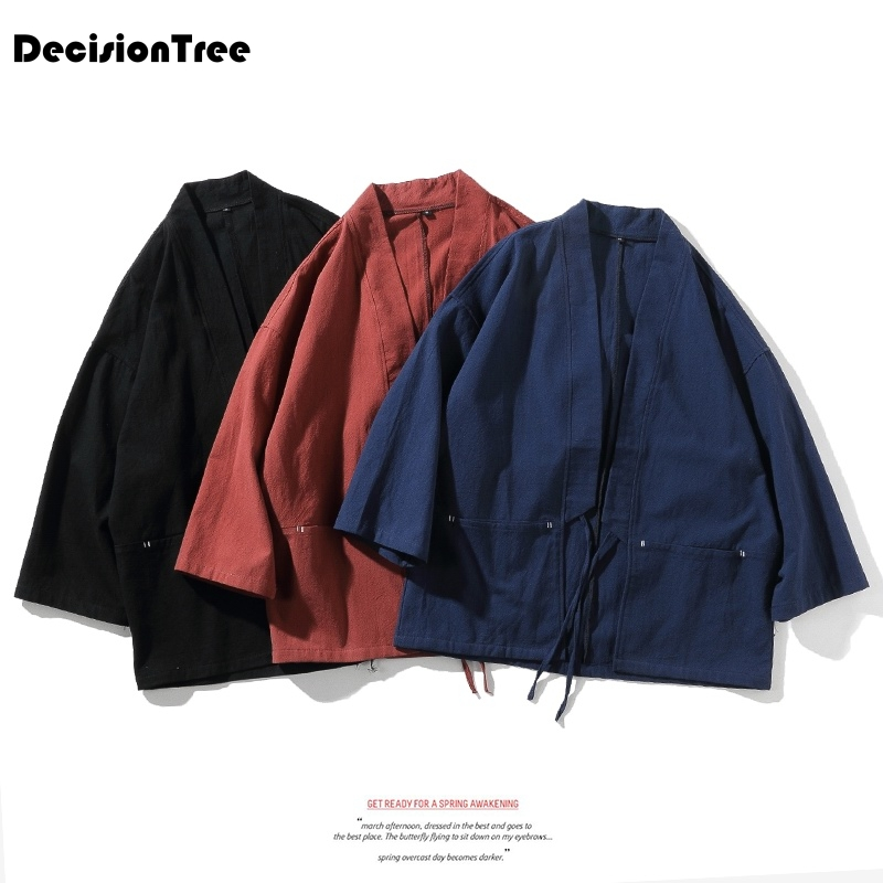2019 Kimono Samurai Japanese Streetwear Mens Kimono Jacket Haori Asian Clothes Yukata Men Cardigan Traditioanl Japanese Clothing