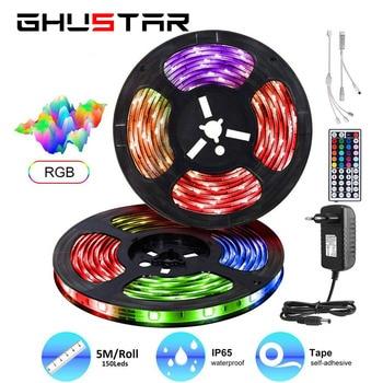 цена на SMD 5050 2835 RGB LED Strip Light Flexible Ribbon Fita Led Light Strip 5m 10m 15m Tape Diode DC 12V+ IR Remote Control +Adapter