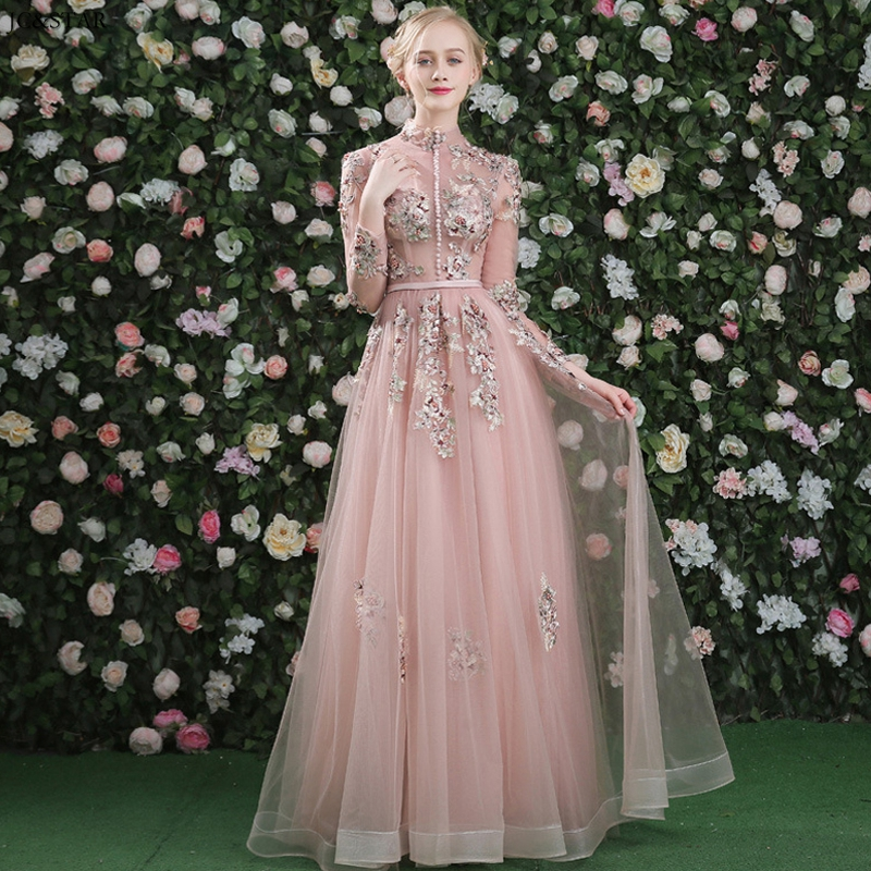 Abiti Da Damigella New High Neck Tulle 3D Flower Back Open Long Sleeve A Line Dusty Pink Dress Bride Maid Dresses For Weddings