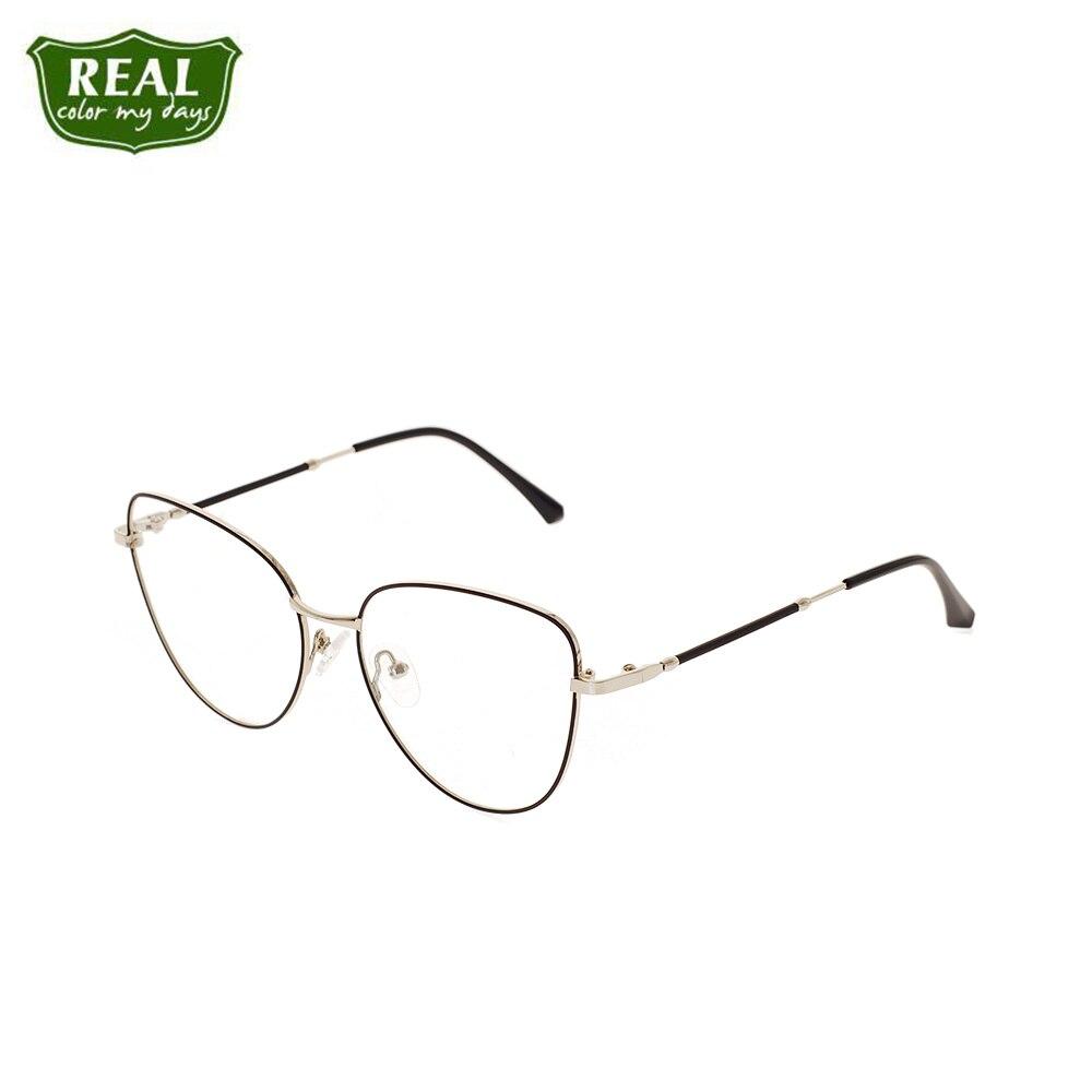 REAL Fashion Cat Eye Women Glasses Metal Frame Optical Glasses Prescription Glasses Reading Eyewear Full Frame Brand Designer
