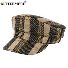 BUTTERMERE Newsboy Cap Woolen Military Women Plaid Vintage Baker Boy Hat Ladies Wool Autumn Winter Sailor Hats for