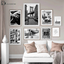 Black White Paris Photography Painting Leopard Road Sign Sexy Lady Fashion Poster Canvas Print Wall Art Picture Salon Decoration