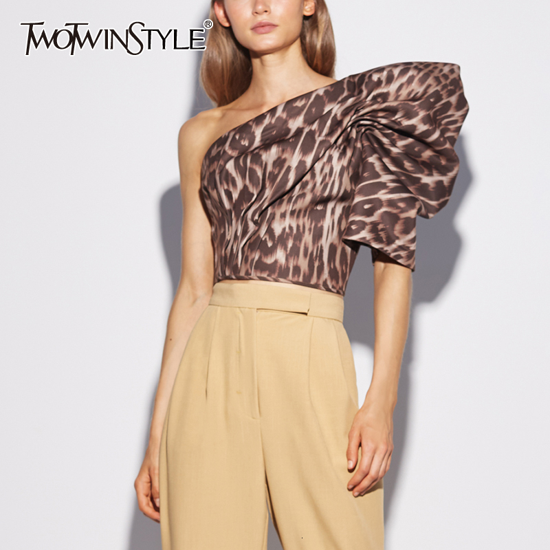 TWOTWINSTYLE Leopard Blouses For Female Skew Collar Puff Long Sleeve Tunic Ruched Irregular Women Shirts Fashion 2019 Clothing