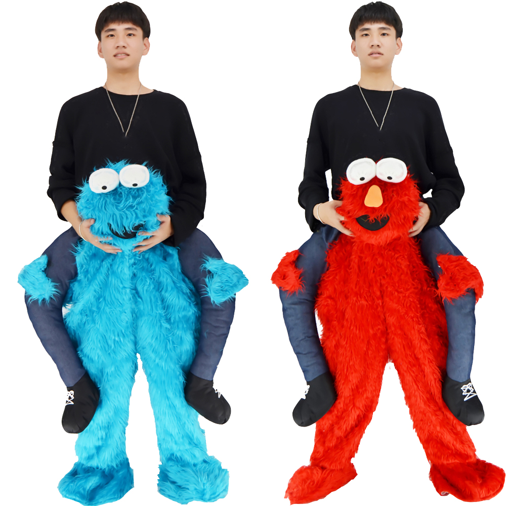Adult Halloween Cosplay Costumes Men Women Ride On Me Mascot Carry Back Funny Animal Pants Fake Leg Christmas Party Performance